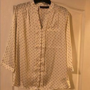 Tops - Cream & black silk button up shirt size small.